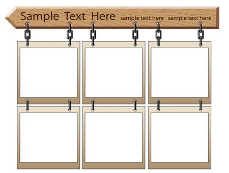 Wooden board with empty frames isolated on white Illustration