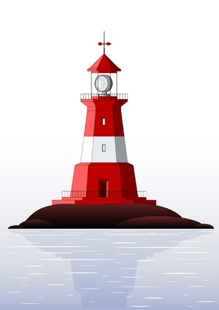 beacons: Beautiful detailed lighthouse isolated on white