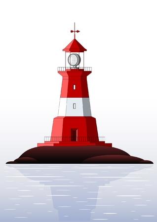 Piękne szczegółowe latarnia morska samodzielnie na biały