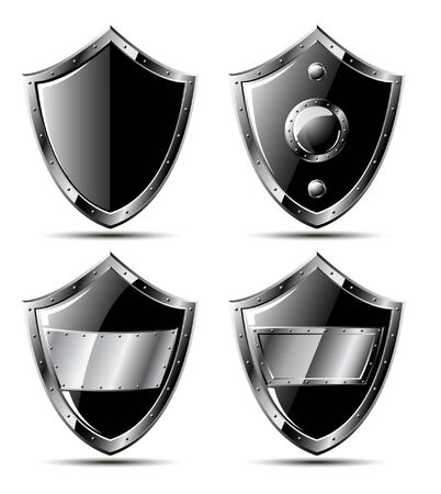 Set of four black steel triangle shields - isolated on white 矢量图像
