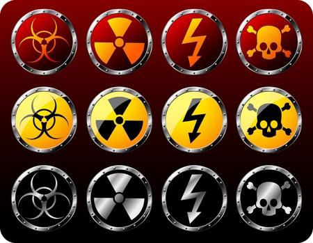 Set of steel shields with warning symbols