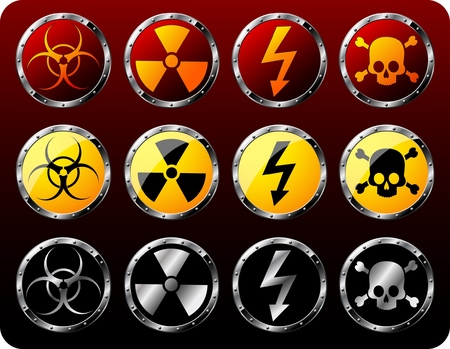 chemical hazards: Set of steel shields with warning symbols