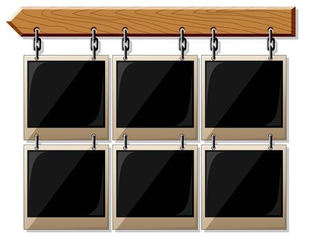 Wooden board with glossy empty frames isolated on white Illustration