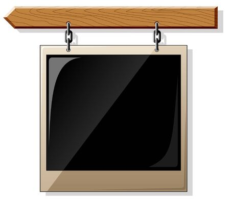 Wooden board with glossy empty frame isolated on white Stock Vector - 5698302
