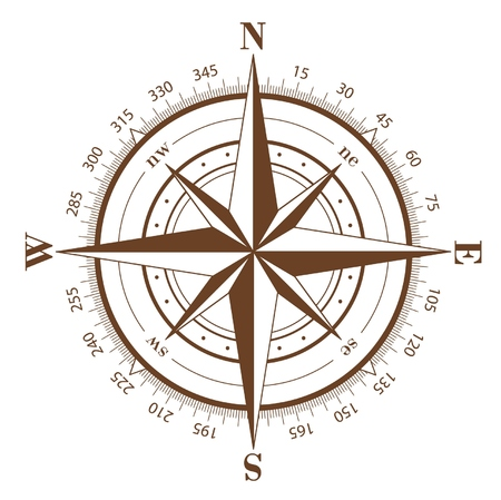 위도: Brown compass rose isolated on white