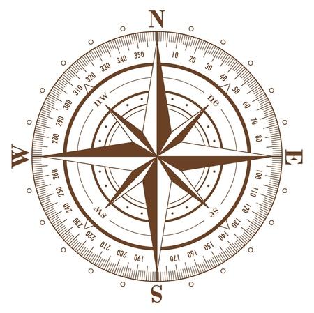 kompassrose: Braune Kompass stieg auf isolierte white