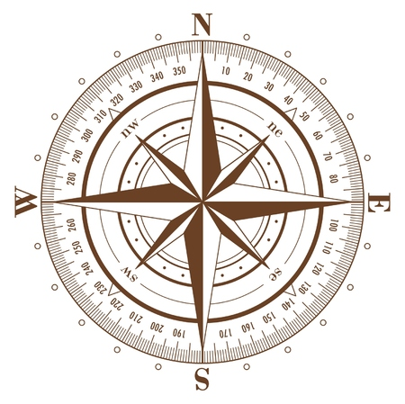 Brown compass rose isolated on white