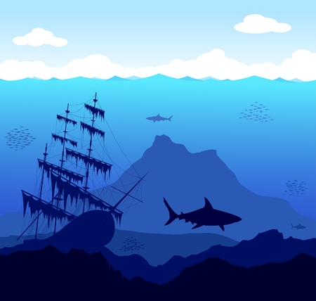 Beautiful and dangerous underwater world with sharks and old ship Vector