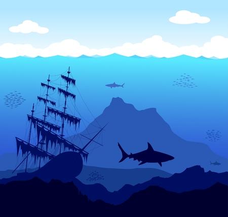 vecchia nave: Bello e pericoloso mondo sommerso con gli squali e le vecchie navi