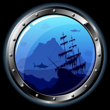 Stalen Patrijspoort met uitzicht op de onder water wereld. Alle transparante elementen kunnen eenvoudig worden verwijderd.  Vector Illustratie