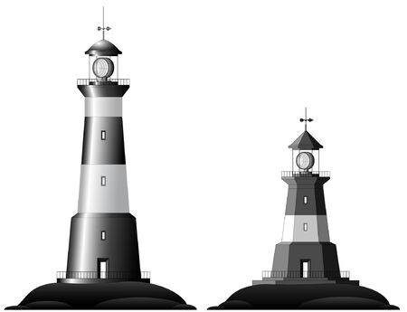 Beautiful detailed black and white lighthouses isolated on white background Vector
