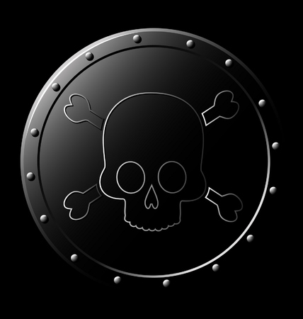Black Steel Shield with skull - isolated on black Stock Vector - 5914994