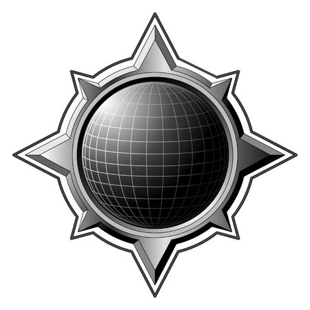 Black globe inside steel compass rose Stock Vector - 6063782