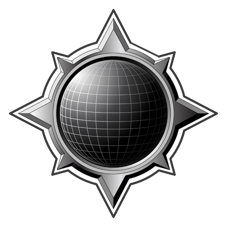 Black globe inside steel compass rose