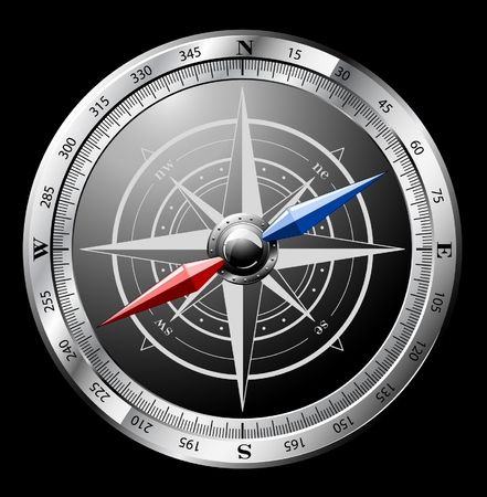 dial compass: Steel detailed compass isolated on black