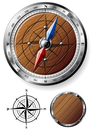 Detailed wooden compass with design elements Vector