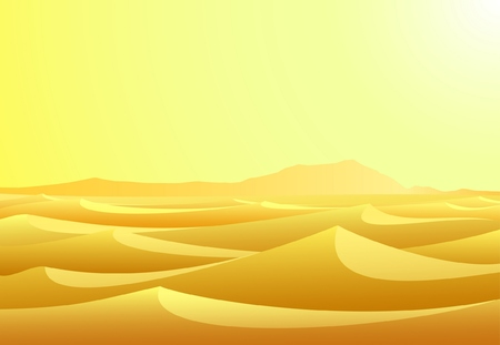 Warm day in barren desert with yellow sand and sky