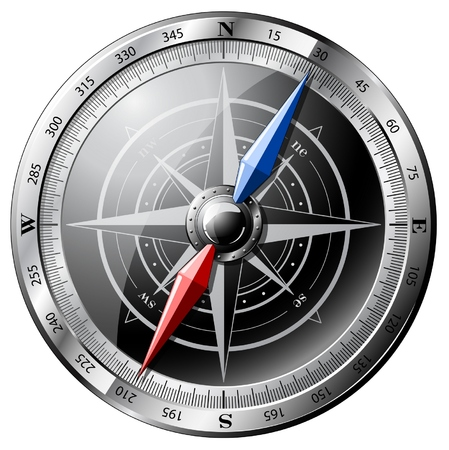 Steel detailed compass isolated on white.EPS10. Vector
