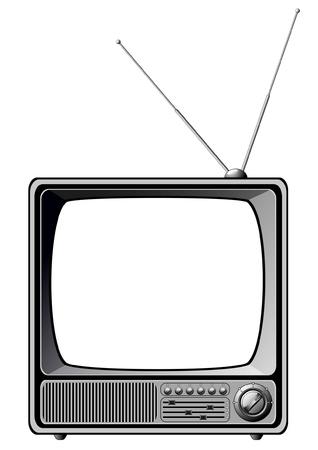 Retro TV isolated on white  矢量图像