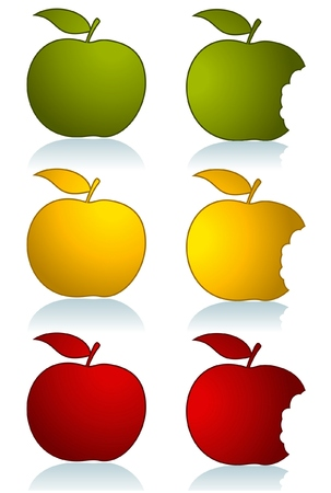 Set of different color apples isolated on white Stock Vector - 6178067
