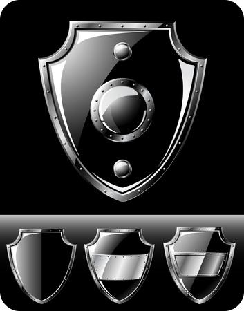 Set of four black steel shields - isolated on black Illustration