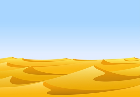Warm day in barren desert with yellow sand dunes and blue sky