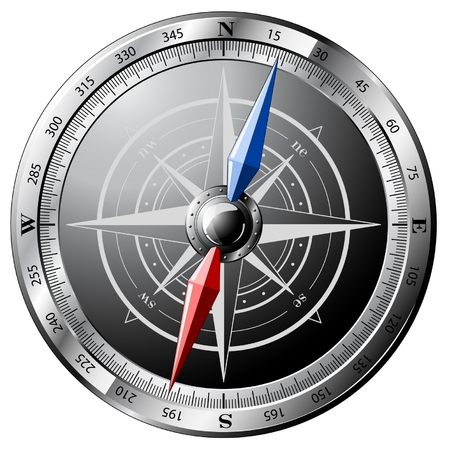 Steel detailed compass isolated on white Stock Vector - 6572020