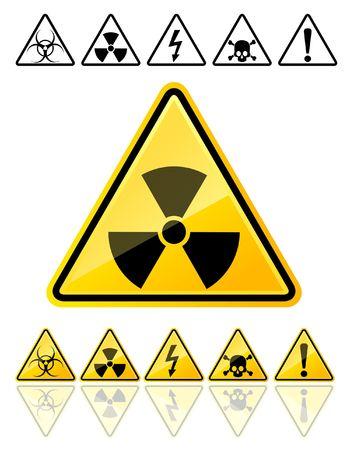 radioattivo: Set di icone dei principali simboli di avviso
