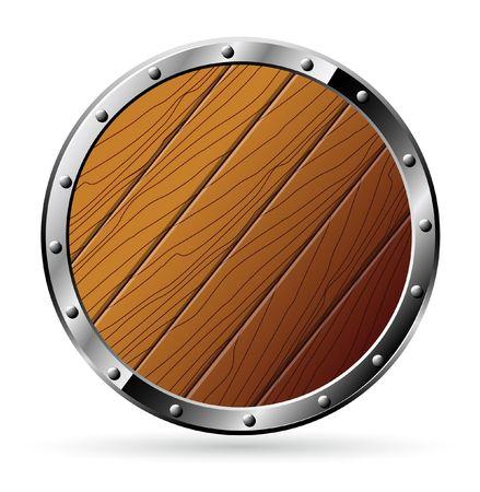 circulaire: Bouclier rond en bois et acier - isol� sur blanc