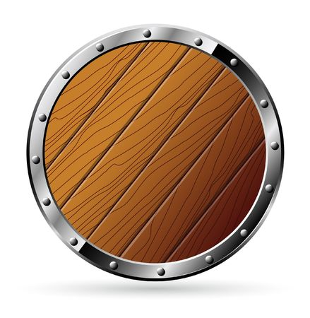 Round shield from wood and steel - isolated on white 矢量图像