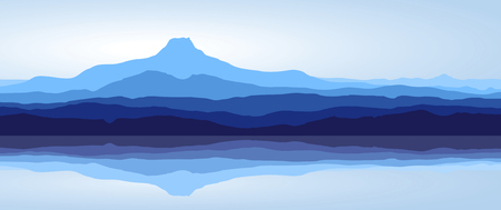 panoramic view: View of blue mountains with reflection in lake - panorama Illustration