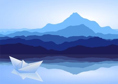 river rock: Vista sulle montagne blu con nave lago e carta  Vettoriali