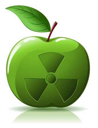 isotope: Green apple with nuclear sing isolated  on white