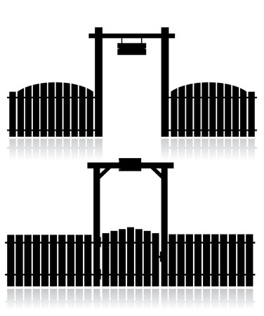 picket fence: Black fence with gate isolated on white