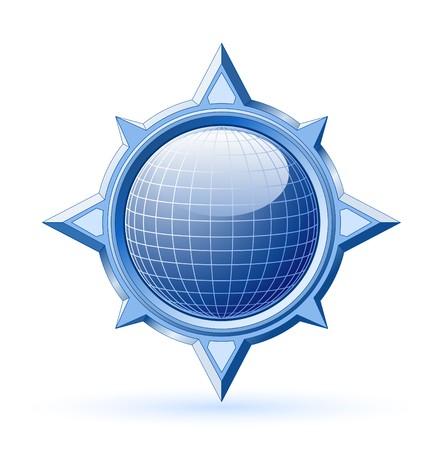 Blue shiny globe inside steel compass rose