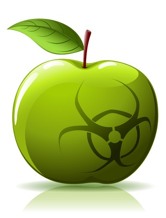 biological warfare: Green apple with biohazard sing isolated  on white