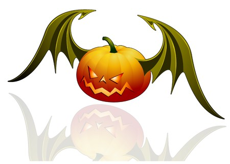 vampire bats: Smiling Halloween pumpkin with wings - isolated on white