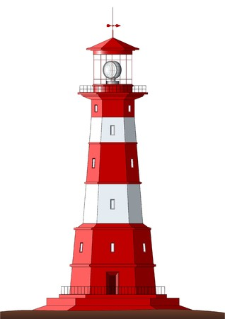nautical structure: Beautiful detailed lighthouse isolated on white