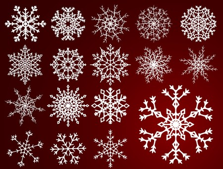 Set of beautiful different snowflakes isolated on red background Illustration
