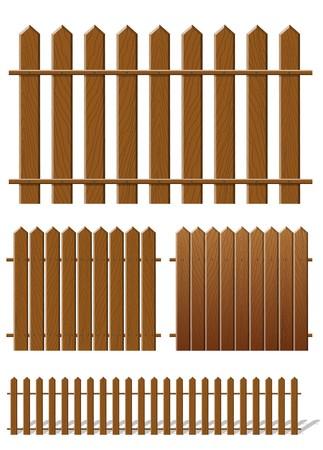 group of objects: Bruin hek met houten structuur  Stock Illustratie