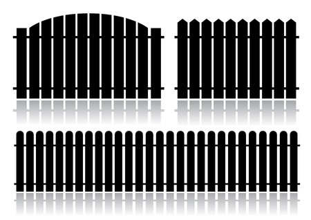 back straight: Black fence isolated on white
