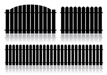 group of objects: Zwarte hek geïsoleerd op wit Stock Illustratie