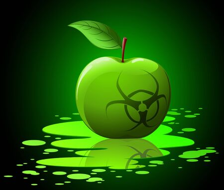 Green toxic apple with biohazard sing on black background Stock Vector - 7913831