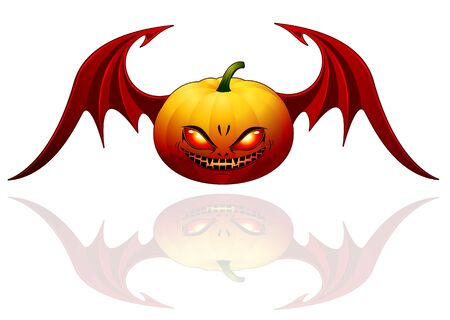 Smiling Halloween pumpkin with wings - isolated on white Vector