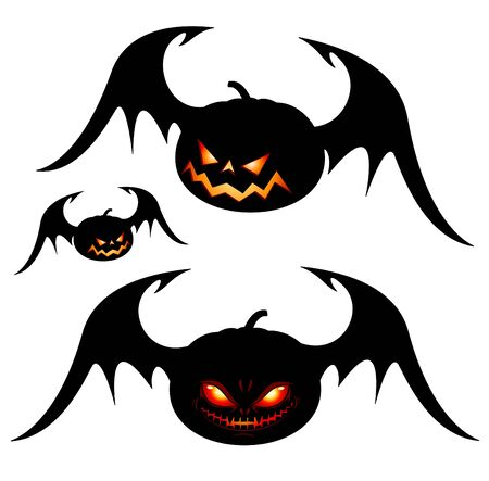 Smiling Halloween pumpkins with wings - black isolated on white Vector