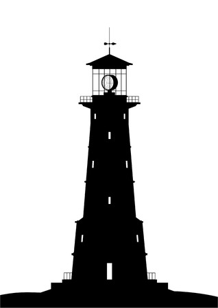 Lighthouse - black isolated on white Stock Vector - 7913829
