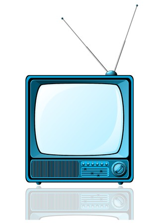 screen: Retro TV with blue screen isolated on white