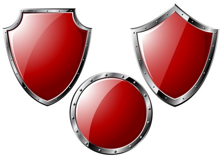 military shield: Set of red steel shields - isolated on white