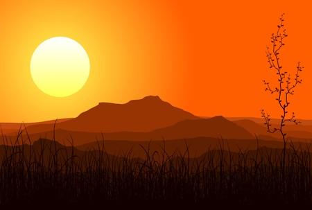 rural areas: View of huge mountains in the evening Illustration