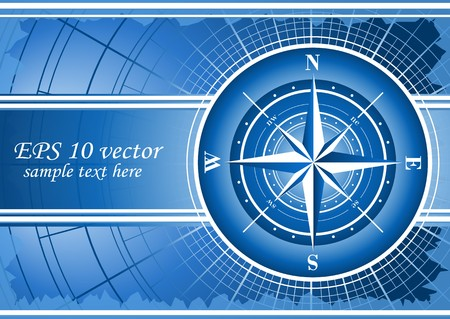 Blue background with compass rose. EPS 10 Stock Vector - 8003529
